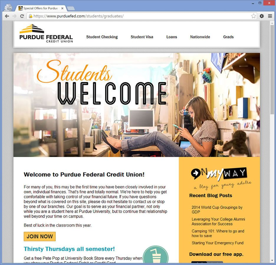 Purdue Federal Credit Union <strong>Student Microsite</strong>
