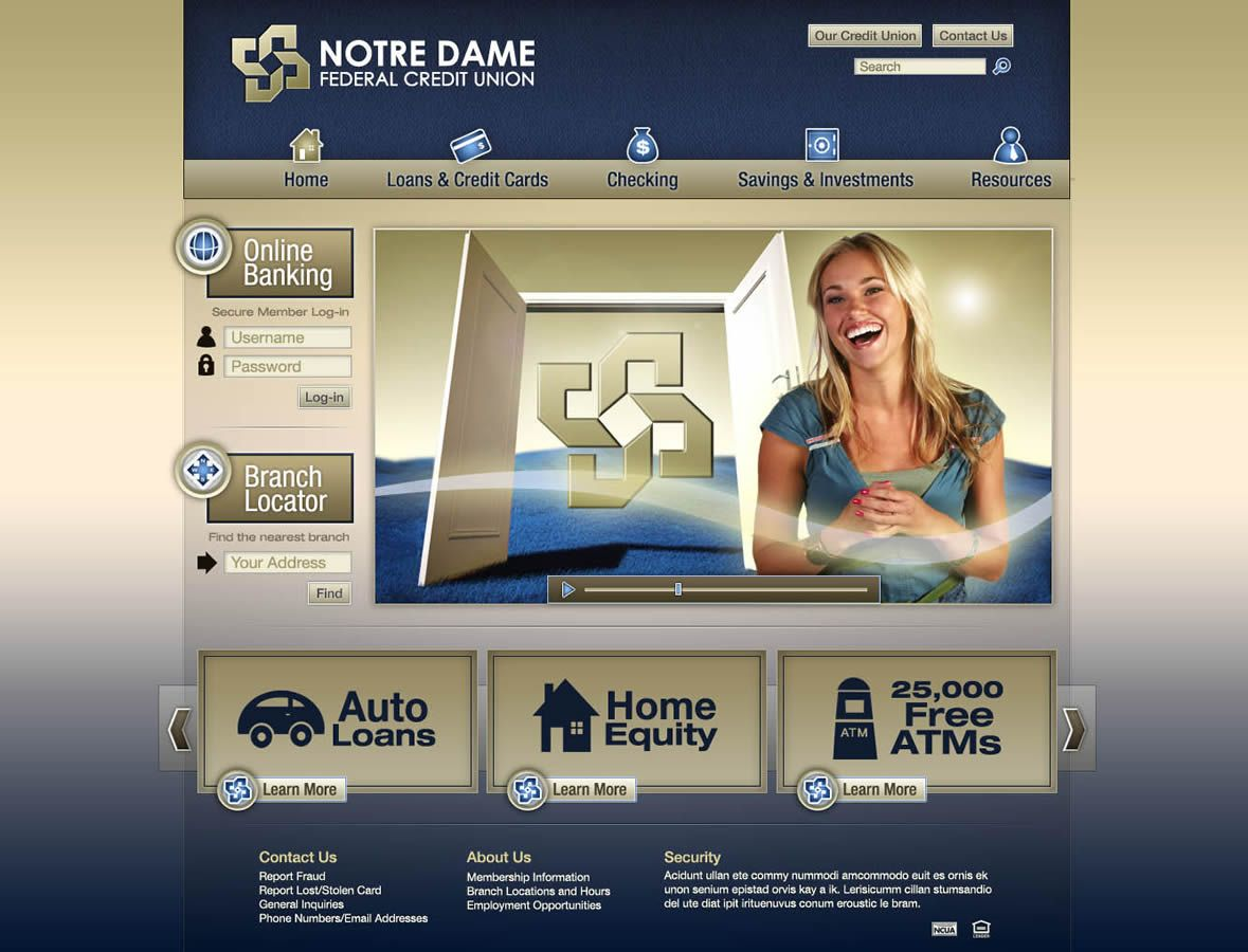 Notre Dame Federal Credit Union <strong>Website</strong>